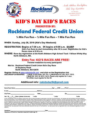 2019 Kid's Day Kid's Races Registration.