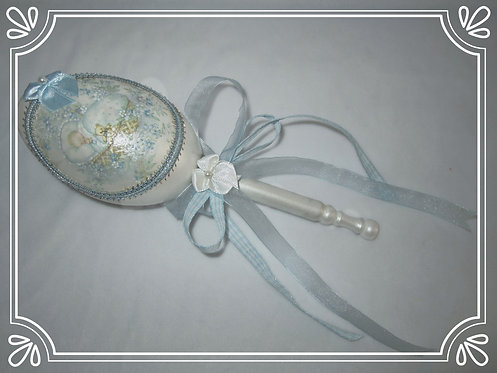 Rattle in Baby Blue & White