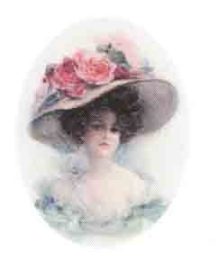 Silk Print Lady with Hat
