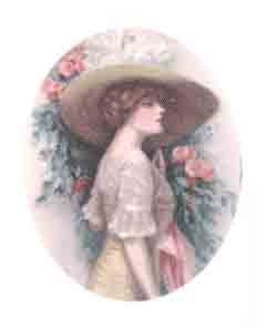 Lady with hat and pink roses