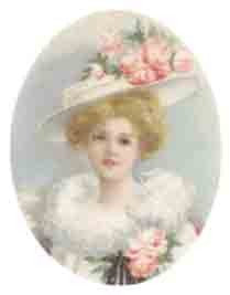 Silk Print Lady with Hat 3