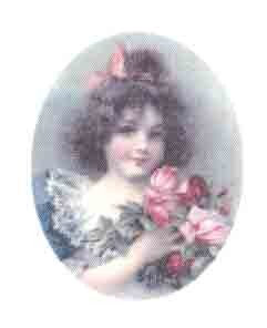 Silk Print Girl with Rose