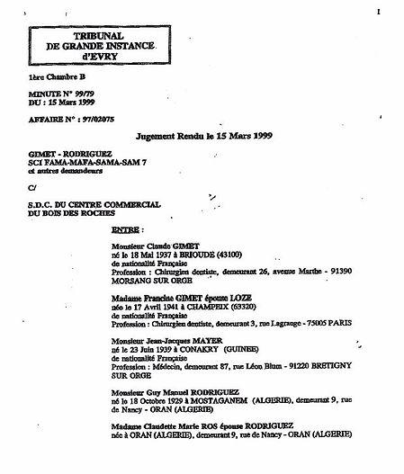 Grand Bois Jugement 15 mars 1999