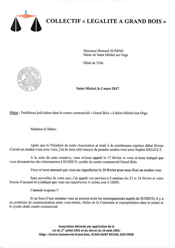 Légalité à Grand Bois écrit à Bernard Zunino