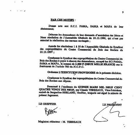 Grand Bois Jugement 15 mars 1999 conclusions