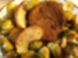 Vegetarian Choplets with Roasted Apples and Brussels Sprouts