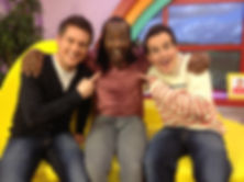 Sid from CBeebies in the studio with Dick & Dom