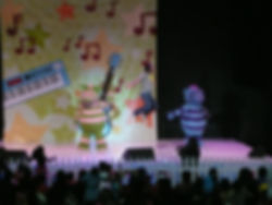 Sid live onstage with Fimbo and Florrie from The Fimbles