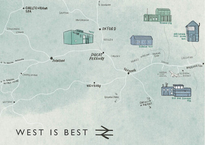 National Rail Great Western Railway Illustrated Map by Laura Tubb