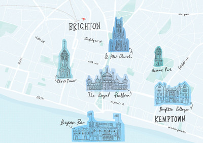 Brighton Illustrated Map by Laura Tubb