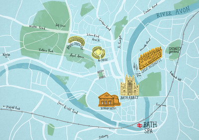 Bath Spa Illustrated Map by Laura Tubb