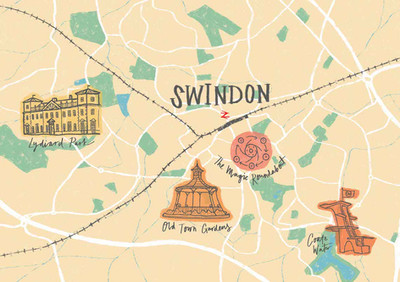 Swindon Wiltshire Illustrated Map by Laura Tubb