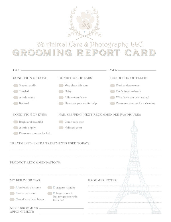 Grooming Pet Report Card Blue Modified D