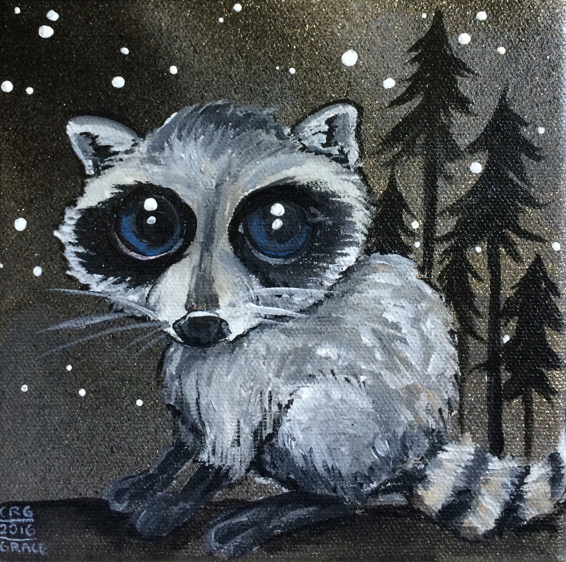 Raccoon Under Stars
