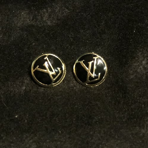 LV button earrings