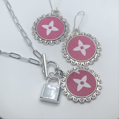 Louis Vuitton iridescent earring and necklace set
