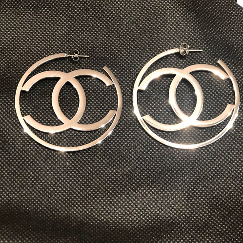 Large CC hoops in silver
