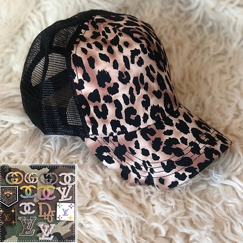 Black leopard hat