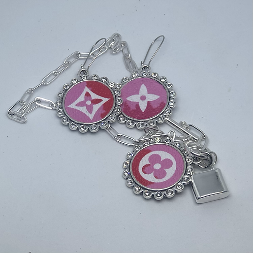Pink Earring and necklace set