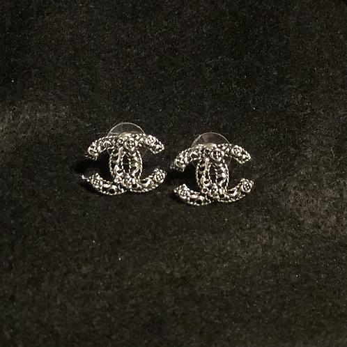 Silver CC earrings