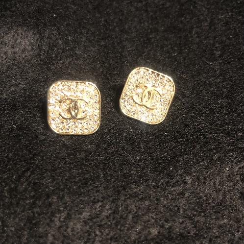 CC square earrings