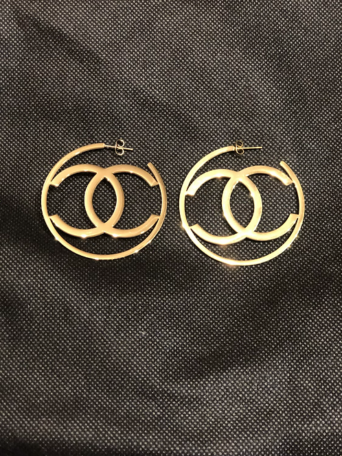 Large gold CC hoops