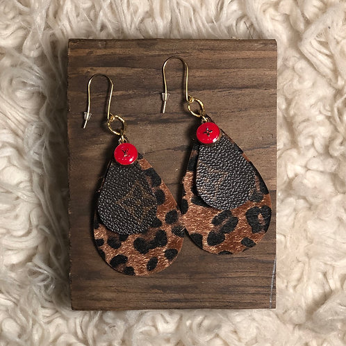LV earring with recycled keychain charms