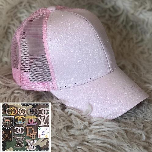 Pale pink sparkle hat