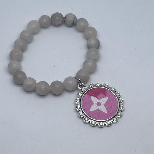 Pink iridescent semi precious bracelet