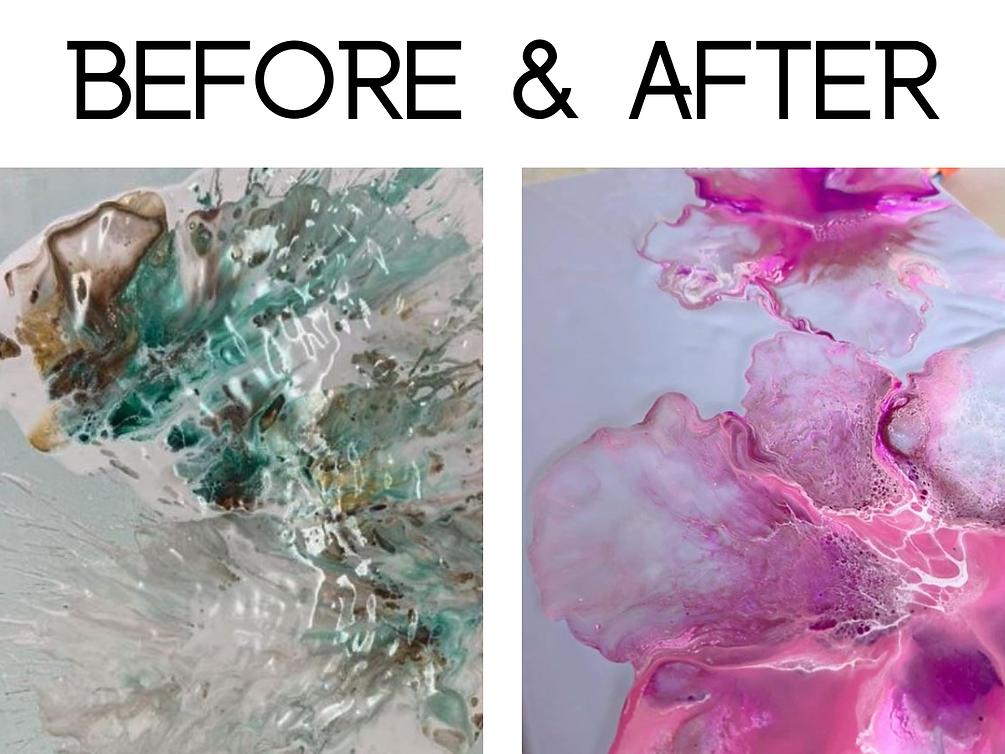 Progress after paint pouring video tutorials