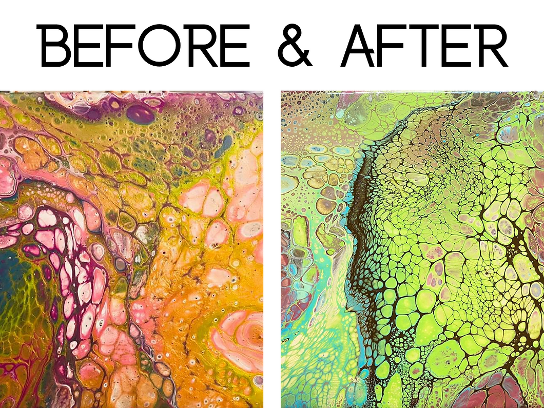 Before and after taking the best online fluid art course