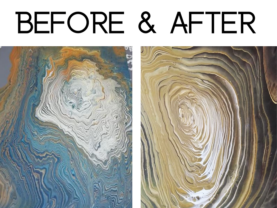 Student before & after pics for paint pouring for beginners