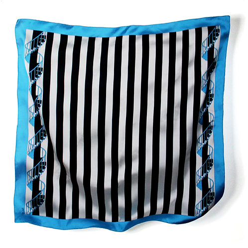 ESCALIER SCARF - L / BLUE WHITE BLACK