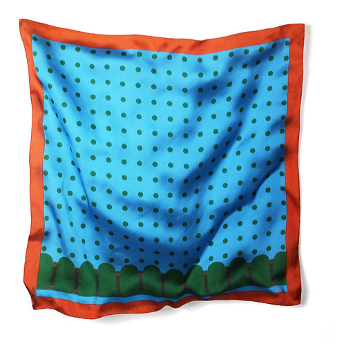 COLONNE SCARF - L / ORANGE BLUE GREEN