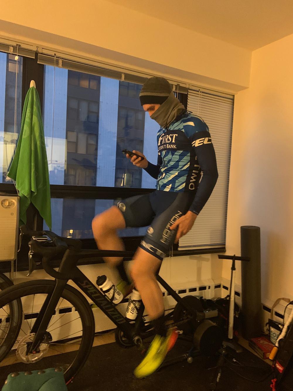 Jarret riding on TrainerRoad in his Chicago Apartment