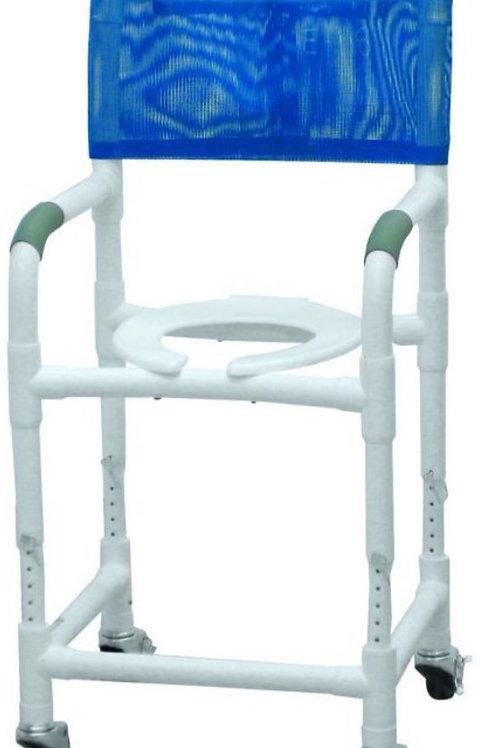 "PVC Shower Chair/ Commode 18"" adj. height"