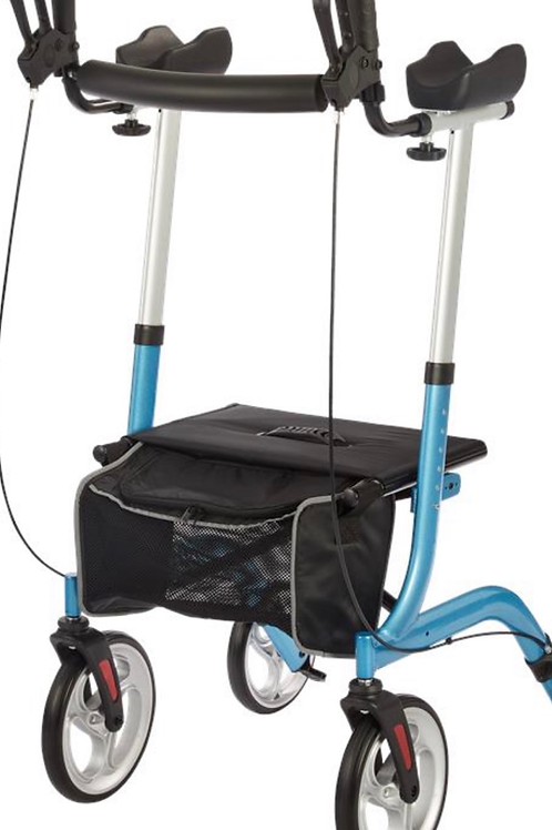 Upright walker with wheels and breaks