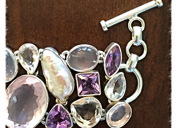 Pink & Purple Combination Gemstones Bracelet