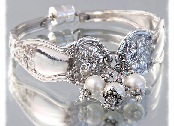 Lily Claire Antique Sterling Bracelet with Pearls