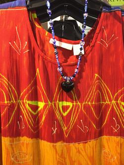 Batik top and necklace