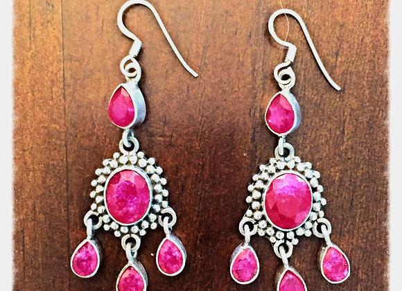 Ruby & Sterling Silver Drop Earrings