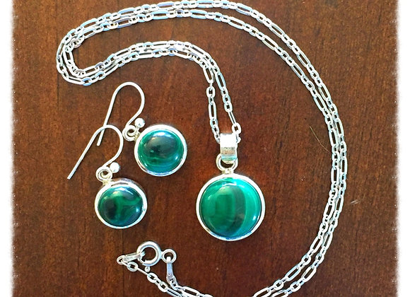 Malachite & Sterling Silver Earrings & Necklace
