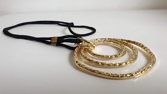 שרשרת דמוי עור + טבעות זהב