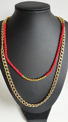 שרשרת שכבות זהב חרוזים אדומים + זהב