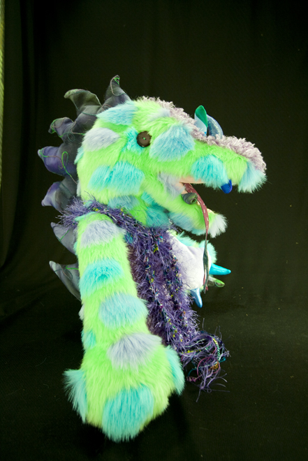 DRAGON  front lime green w spots