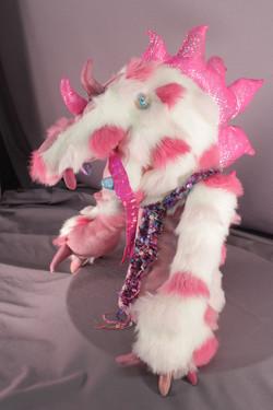 DRAGON white w pink spots.