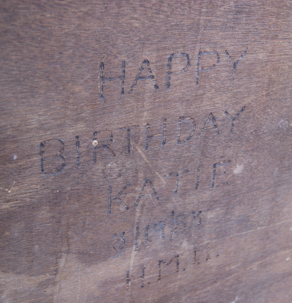 Engraved message on hutch