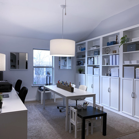 Office Renovation with IKEA's BILLY Bookcases, MICKE Desks & VANGSTA Table