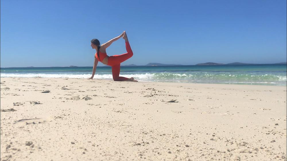 hip opening poses, beach yoga, beach yoga poses, beach yoga routine, yoga australia, yoga california, hip opening