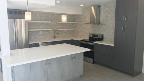 L Shaped Kitchen With Pantry Island And Open Shelving Complete